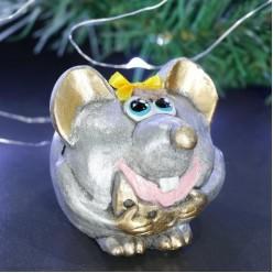 Фигурка СГ Счастливая Крыса, серебро (гипс) 7,5*7,5*13 см