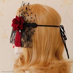 Повязка на голову с вуалью, бордовая роза с кисточкой сбоку