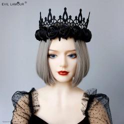 Корона-повязка на голову чёрная, чёрные атласные розы