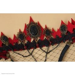 Корона-повязка на голову, бордовая с черными камнями