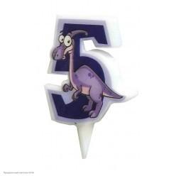 Свеча-цифра 5 Динозавр 5см