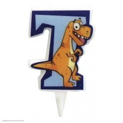 Свеча-цифра 7 Динозавр 5см