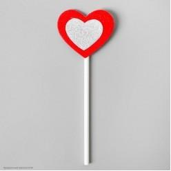 """Топпер в торт """"Сердце"""" красно-серебряное, 6 штук, 17*10см"""