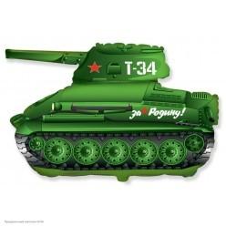 "Шар фольга ""Танк T-34"" зелёный 31''/79см"