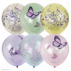 """Шар """"Бабочки"""" рисунок цветной 12""""/30см"""