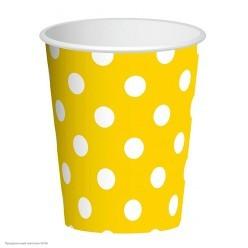 "Стаканы ""Горошек на жёлтом"" 250мл 6шт, бумага"