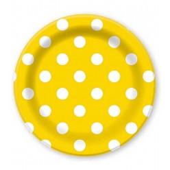 """Тарелки """"Горошек на жёлтом"""" 23 см 6 шт, бумага"""