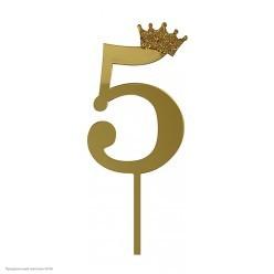 """Топпер зеркальный """"5"""" золото, 18см, пластик"""