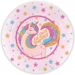 """Тарелки """"Единорог розовый"""" 23 см 6 шт, бумага"""