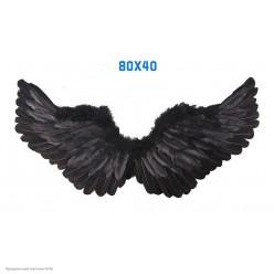 Крылья Ангела чёрные 80*40см (перо, картон)