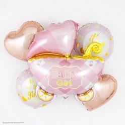 """Набор фольгированных шаров """"Рождение девочки"""" Коляска, 5 шт"""