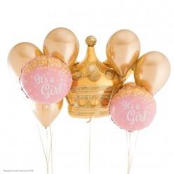 "Шар фольга Круг ""It`s a Girl"" Конфетти, розовый 18""/45см"