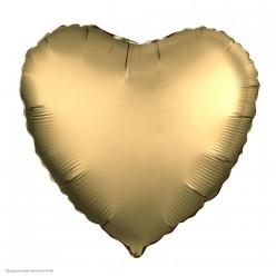 Шар фольга Сердце, Золото Сатин 19''/48см
