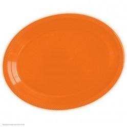 Тарелки овальные оранжевые 32*25см 5шт, пластик