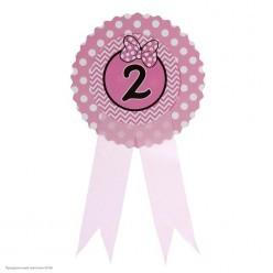 "Значок ""2"" Бантик, розовый, 9*21см (картон)"
