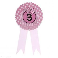 "Значок ""3"" Бантик, розовый, 9*21см (картон)"