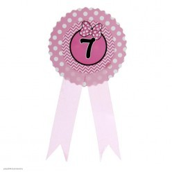 "Значок ""7"" Бантик, розовый, 9*21см (картон)"
