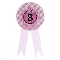 "Значок ""8"" Бантик, розовый, 9*21см (картон)"