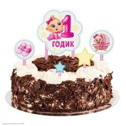 """Набор для украшения торта """"1 годик"""" Малышка (картон)"""