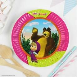 """Тарелки """"Маша и Медведь"""" 17 см 6 шт, бумага"""