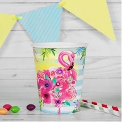"Стаканы ""Фламинго цветочный"" 250мл, 10шт (бумага)"