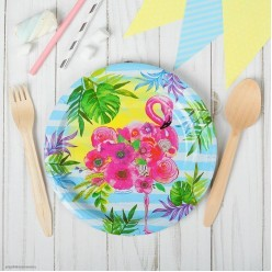"""Тарелки """"Фламинго цветочный"""" 18 см, 10 шт (бумага)"""
