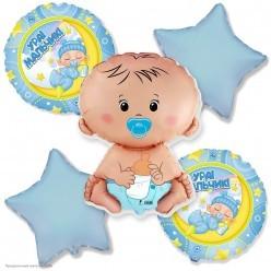 """Набор фольгированных шаров """"Рождение мальчика"""" Малыш, 5шт"""