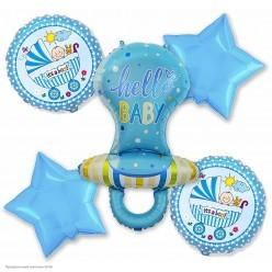 """Набор фольгированных шаров """"Рождение мальчика"""" Соска, 5шт"""