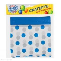 """Скатерть """"Горошки синие"""" 182*137 см (клеёнка)"""