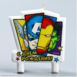 """Свеча для торта """"С Днём Рождения!"""" Мстители 8*8 см"""