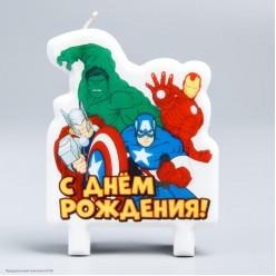 """Свеча для торта """"С Днём Рождения!"""" Мстители 7,5*10 см"""