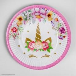 """Тарелки """"Единорог и цветы"""" 18 см 6 шт, бумага"""