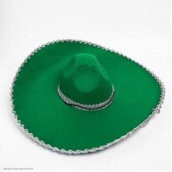 Сомбреро 56*17см зелёное, серебряная тесьма (фетр)