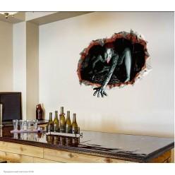 "Наклейки декор Хэллоуин ""За стеной"" рептилоид 60*45см"
