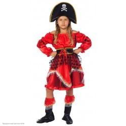 """Костюм детский """"Пиратка"""" красно-чёрный 128 см"""