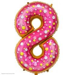 "Шар фольга Цифра ""8"" Пончик 34""/86см"