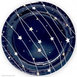 """Тарелки """"Звёздная траектория"""" тиснение, 18см 6шт, бумага"""