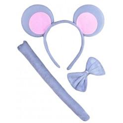 Набор Мышки серо-розов 2 (уши, бабочка, хвост)