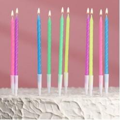 """Свечи для торта """"Неоновые"""" ассорти 10 шт, 19см"""