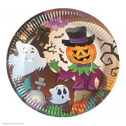 "Тарелки 18см Хэллоуин ""Тыква-пугало""  10шт, бумага"