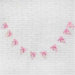 "Гирлянда-флажки ""Пони"" 21*30см, 3м (бумага) розовая"