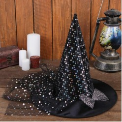 Колпак волшебницы с вуалью и бантом, чёрный