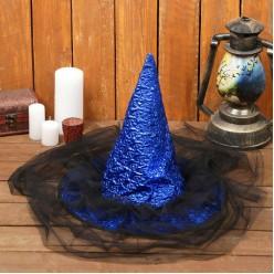 """Колпак волшебницы с вуалью """"Ночь"""" синий"""