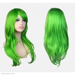 Парик волны с чёлкой 65см матовый, адаптивный (зелёный)