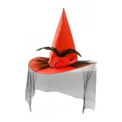 Колпак Ведьмы атласный с вуалью и двумя цветками, красный