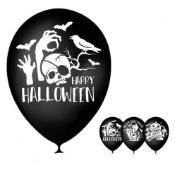 "Шар ""Happy Halloween"" чёрный 1ст/рисунок 12""/30см"