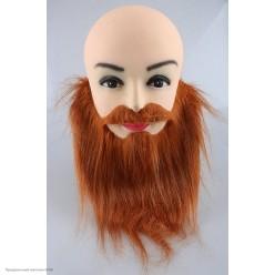 Борода коричневая прямая с усами 22*28см