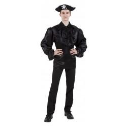 Пиратская рубаха (взрослая) чёрная р.46-48