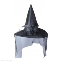 Колпак Ведьмы атласный с вуалью и цветами, чёрный