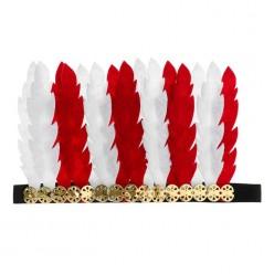 Индейский головной убор красно-белый (фетр) 15*24см